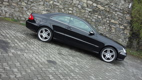 Cluj Napoca/Romania-April 7, 2017: Mercedes Benz W209 Coupe - year 2005, Elegance equipment, Black metallic, 19 inch alloy wheels Stock Photos