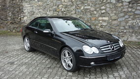 Cluj Napoca/Romania-April 7, 2017: Mercedes Benz W209 Coupe - year 2005, Elegance equipment, Black metallic, 19 inch alloy wheels Stock Photo
