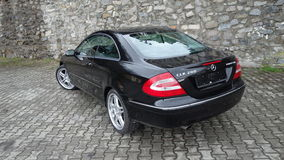Cluj Napoca/Romania-April 7, 2017: Mercedes Benz W209 Coupe - year 2005, Elegance equipment, 19 inch wheels, profile view Stock Images