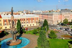 Cluj Napoca, Romania. Avram Iancu statue overlooks the square in Cluj Napoca, Romania Royalty Free Stock Photography