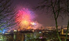CLUJ-NAPOCA, ROMANIA - December 1, 2018: Fireworks in Cluj-Napoca, Romania viewed from Cetatuia Hill. Above aerial clouds environment horizontal kolozsvar night stock images