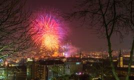 CLUJ-NAPOCA, ROMANIA - December 1, 2018: Fireworks in Cluj-Napoca, Romania viewed from Cetatuia Hill. Above aerial clouds environment horizontal kolozsvar night stock photography