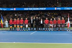 Tennis match opening ceremony Royalty Free Stock Image