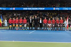 Tennis match opening ceremony Stock Images