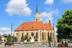 Cluj Napoca, Romania. July 2, 2015: The Church of Saint Michael is an iconic Gothic-style Roman Catholic church in Cluj-Napoca Royalty Free Stock Photography
