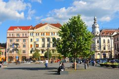 Cluj Napoca, Romania. Cluj Napoca , Romania - July 2, 2015: Street view of the city centre of Cluj Napoca, a major city in the heart of Transylvania, Romania Royalty Free Stock Images