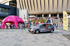 Race car stands in front of Cluj Arena stock photography