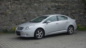 Cluj Napoca/Romania-May 9, 2017: Toyota Avensis Sedan Executive - year 2010, Facelift equipment, Silver metallic, alloy wheels Royalty Free Stock Photos