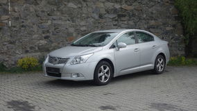 Cluj Napoca/Romania-May 9, 2017: Toyota Avensis Sedan Executive - year 2010, Facelift equipment, Silver metallic, alloy wheels Stock Image