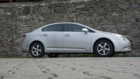 Cluj Napoca/Romania-May 9, 2017: Toyota Avensis Sedan Executive - year 2010, Facelift equipment, Silver metallic,  alloy wheels Stock Photography