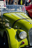 Cluj-Napoca, Romania - 24 September 2016 Klausenburg Retro Racing - Morgan Classic Retro Car headlight and front view Stock Images