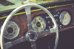Cluj-Napoca, Romania - 24 September 2016 Klausenburg Retro Racing - Morgan Classic Retro Car steering wheel and wooden board detai Stock Photo