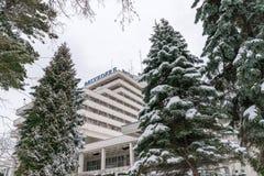 CLUJ-NAPOCA, ROUMANIE - 23 MARS 2018 : Vue à l'hôtel de belvédère sur la colline de Cetatuia à Cluj-Napoca, Roumanie images stock