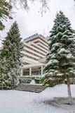 CLUJ-NAPOCA, ROUMANIE - 23 MARS 2018 : Vue à l'hôtel de belvédère sur la colline de Cetatuia à Cluj-Napoca, Roumanie photographie stock