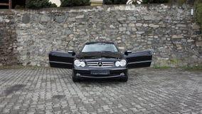 Cluj Napoca/Rumänien-April 7, 2017: Mercedes Benz W209 kupé - året 2005, elegansutrustning, rullar den 19 tum legeringen, lammdör Royaltyfria Foton