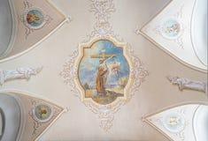 CLUJ-NAPOCA RUMÄNIEN - 24 MARS, 2018: Inom den Franciscan templet i Cluj Napoca, Rumänien arkivbilder