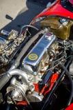 Cluj-Napoca Rumänien - 24 September 2016 Klausenburg Retro Racing - detalj för motor för slaglängd för tävlings- bil 4 för Stangu Arkivbild