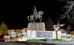 Cluj napoca statue night. Cluj Napoca city Romania Statue of Mihai Viteazu landmark architecture royalty free stock photography