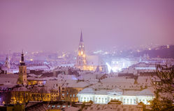 Cluj Napoca in Transylvania region of Romania. Old city of Cluj-Napoca wich is the European Youth Capital and The Heart of Transylvania in a night scene during a royalty free stock image