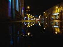 Cluj night lights. Water reflection photo royalty free stock photo