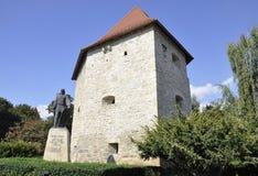 cluj RO, Wrzesień 23th: Krawczynów wierza i baby Novac statua od cluj od Transylvania w Rumunia Zdjęcia Royalty Free