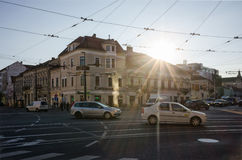 CLUJ, ROMANIA - OCTOBER 28, 2016: The busy city center of Cluj, Royalty Free Stock Image