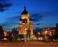 Cluj, Romania. Night scene in Avram Iancu Square, Cluj-Napoca, Romania royalty free stock photography