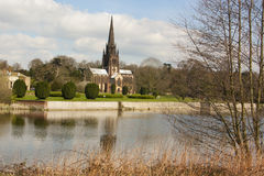 Clumber Park church postcard. Landscape picture of clumber Park stock image