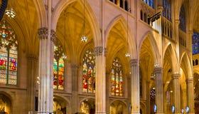 Clumns och Windows av domkyrkan för St Patrick's Arkivbilder
