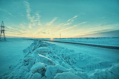 Clumps of snow and the road Royalty Free Stock Photo