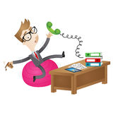 Clumsy cartoon businessman sitting on wobbly ball at desk Stock Photos