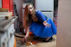 Clumsy housewife Stock Image