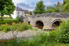 Clun, Shropshire. The old packhorse bridge at Clun, Shropshire, England Royalty Free Stock Photography
