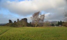 Clun slott - Shropshire Arkivfoto