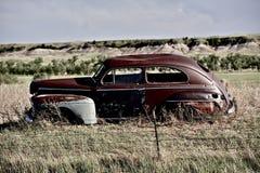 Clunker on Prairie. Near Pine Ridge Indian Reservation in South Dakota. Abandoned Car in South Dakota Royalty Free Stock Photos