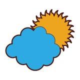 Cluod med solvädersymbolen Arkivbilder