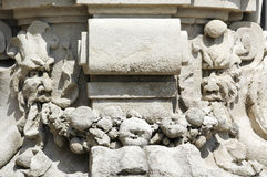 Clusone. (Bergamo, Lombardy, Italy) - Detail of a column of an historic building Royalty Free Stock Photo