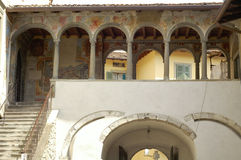 Clusone, court. Clusone (Bergamo, Lombardy, Italy): court of an old building Stock Image