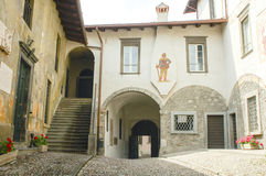 Clusone, court. Clusone (Bergamo, Lombardy, Italy): court of an old building Stock Photo