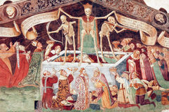 Clusone, fresco. Clusone (Bergamo, Lombardy, Italy) - Oratorio dei Disciplini: Danza Macabra, Dance of the Death, ancient fresco Stock Image