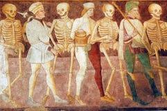 Clusone, fresco. Clusone (Bergamo, Lombardy, Italy) - Oratorio dei Disciplini: Danza Macabra, Dance of the Death, ancient fresco Stock Photo