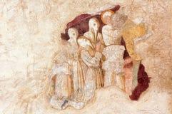 Clusone, fresco. Clusone (Bergamo, Lombardy, Italy) - Oratorio dei Disciplini: Danza Macabra, Dance of the Death, ancient fresco Royalty Free Stock Photography