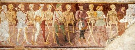Clusone, fresk, taniec śmierć fotografia stock