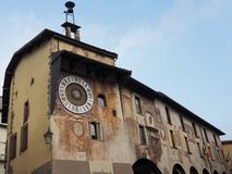 Clusone - Planetary clock. Built in 1583. By Pietro Fanzago on the medieval tower and square stock photography