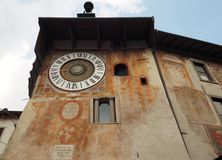 Clusone - Planetary clock. Built in 1583. By Pietro Fanzago on the medieval tower and square stock image