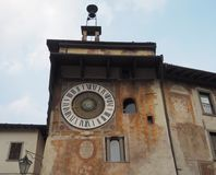 Clusone - Planetary clock. Built in 1583. By Pietro Fanzago on the medieval tower and square royalty free stock photos