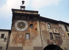 Clusone - Planetary clock. Built in 1583. By Pietro Fanzago on the medieval tower and square stock photos