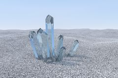 A cluster of blue magic crystal gather together, 3d rendering. Computer digital background magical shine gem structure beauty stone geological beautiful quartz vector illustration