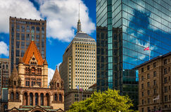Cluster of buildings at Copley Square in Boston, Massachusetts. Royalty Free Stock Photos