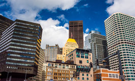 Cluster of buildings in downtown Boston, Massachusetts. Stock Image